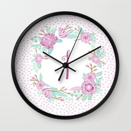 Monogram I - cute girls purple florals flower wreath, lilac florals, baby girl, baby blanket Wall Clock