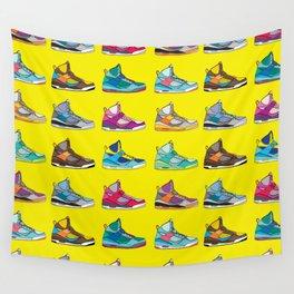 Colorful Sneaker set yellow illustration original pop art graphic print Wall Tapestry