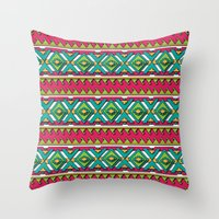 aztec Throw Pillows featuring Aztec by Shelly Bremmer