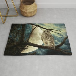 Barred Owl Bird Night Moon Blue Tans Country Art A137 Rug