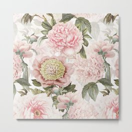 Vintage & Shabby Chic - Antique Pink Peony Flowers Garden Metal Print