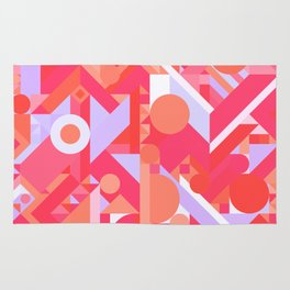 GEOMETRY SHAPES PATTERN PRINT (WARM RED LAVENDER COLOR SCHEME) Rug
