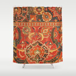 Red Arabic Rug I // 17th Century Colorful Firey Red Light Teal Sapphire Navy Blue Ornate Pattern Shower Curtain