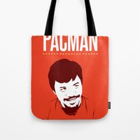 pacman Tote Bags featuring Pacman by Yo Jimbo