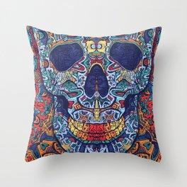 Psychedelic Skull Art Throw Pillow