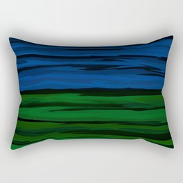 Emerald Green, Slate Blue, and Black Onyx Spilt Rectangular Pillow