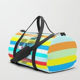 Striped Glitch Skull Duffle Bag