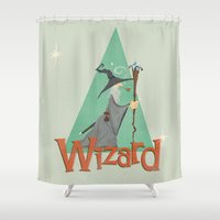 wizard Shower Curtains featuring Grey Wizard by O'Banion Art