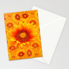 Decorative Golden Sunflowers Abstracted Floral Art Stationery Cards