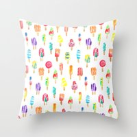 popsicle Throw Pillows featuring Popsicle by Golden Girl Art