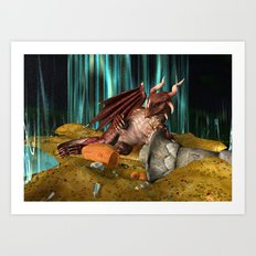 3D Illustration Dragon Treasure Art Print