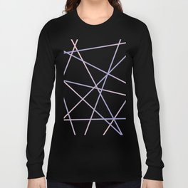 Lines 92 - in pink, purple on black Long Sleeve T-shirt