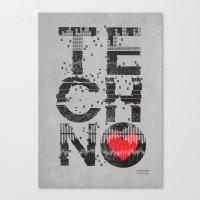 paramore Canvas Prints featuring I love Techno by Sitchko Igor