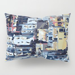 red yellow blue pink drawing and painting abstract background Pillow Sham