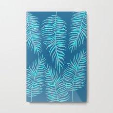 Fern Pattern On Blue Background Metal Print