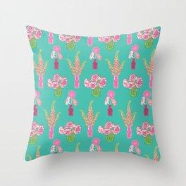 Flower Vases illustrated Pattern Throw Pillow