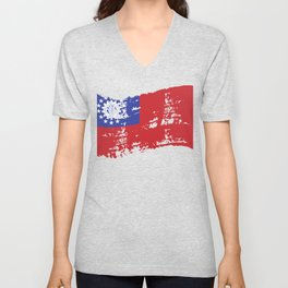 Myanmar Naypyidaw Gift Asia Flag Country Unisex V-Neck