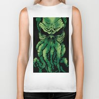cthulhu Biker Tanks featuring Cthulhu by PCRK
