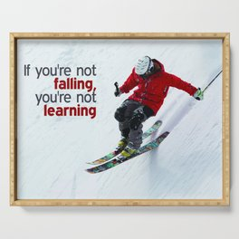 Skiing Fall Art Quote Poster Serving Tray