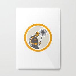 Chimney Sweep Worker Retro Metal Print
