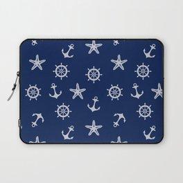 Navy Blue Nautical Pattern Laptop Sleeve