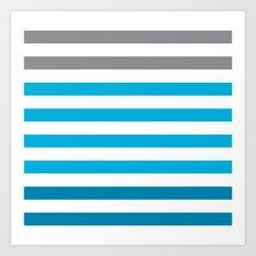 Stripes Gradient - Blue Art Print