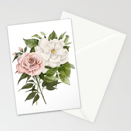 Pink Rose and Magnolia Stationery Cards
