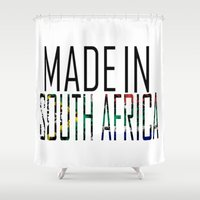 south africa Shower Curtains featuring Made In South Africa by VirgoSpice
