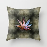 marijuana Throw Pillows featuring Marijuana Leaf - Design 2 by Spooky Dooky