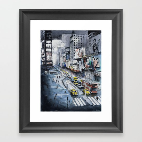 Time square - New York City - Illustration watercolor painting Framed Art Print