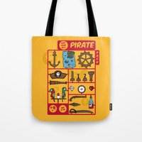 kit king Tote Bags featuring pirate kit by blablasah