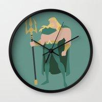 aquaman Wall Clocks featuring Aquaman by karla estrada