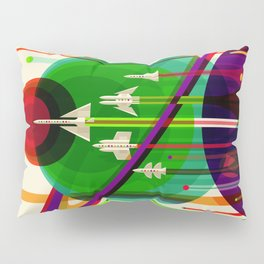 NASA Outer Space Saturn Shuttle Retro Poster Futuristic Explorer Pillow Sham