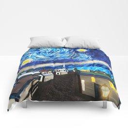 Tardis Art Starry City Night Comforters