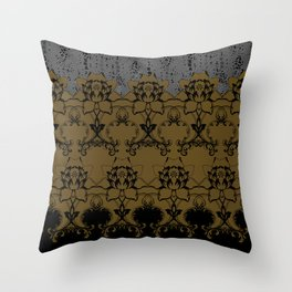 Damask Texture Border in Browns and Black Throw Pillow