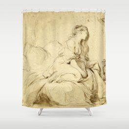 """Jean-Honoré Fragonard """"Oh! If Only He Were as Faithful to Me"""" Shower Curtain"""