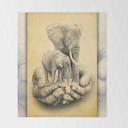 Refuge Elephants Drawing Throw Blanket