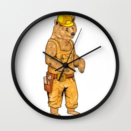 Construction Worker Grizzly Bear Wall Clock