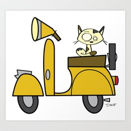 cat on a scooter Art Print