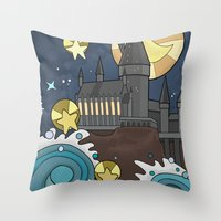 hogwarts Throw Pillows featuring Hogwarts by Lacey Simpson