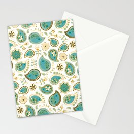 Hedgehog Paisley_Teal BgWhite Stationery Cards