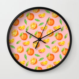 Watercolor Oranges Pattern 2 Wall Clock