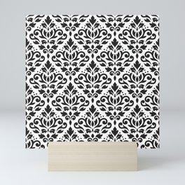 Scroll Damask Pattern Black on White Mini Art Print