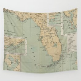 Vintage Lighthouse Map of Florida (1898) Wall Tapestry