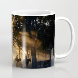 Riding Horses In The Outback During Sunset Coffee Mug