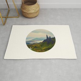 Mid Century Modern Round Circle Photo Magical Landscape Volcanic Mountains Rolling Green Hills Rug