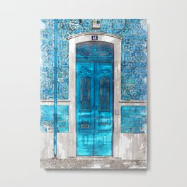 Vintage Blue Door Portugal - For Doors & Travel Lovers Metal Print