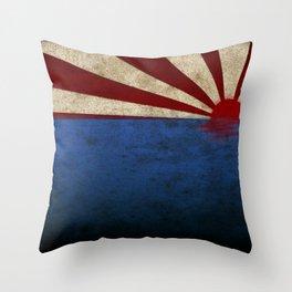 Rising sun on sea Throw Pillow