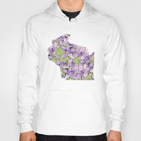 wisconsin Hoodies featuring Wisconsin in Flowers by Ursula Rodgers