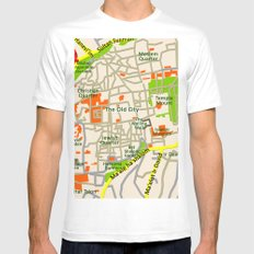 Jerusalem map design MEDIUM White Mens Fitted Tee